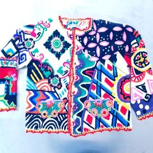 Michael Simon Art to Wear Embellished Cardigan 44""